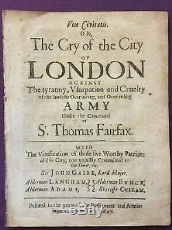 1647 The Cry of the City of London, Thomas Fairfax, English Civil War Pamphlet
