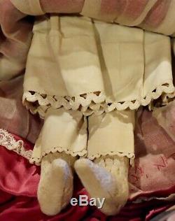 17 Antique German China Head Civil War Era C1860 Doll withGreat Snood & Outfit
