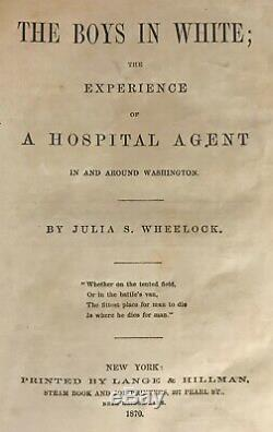 1870 Civil War BOYS IN WHITE Medical Surgical HOSPITAL SKETCHES Field Surgeon US