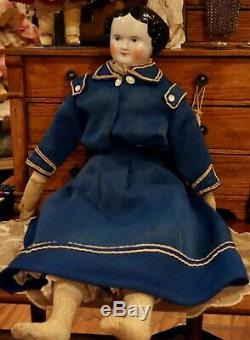 22 Antique German China Head Civil War Era C1860 Doll withGreat Antique Outfit