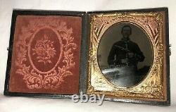 6th Plate Size Civil War Cavalry Soldier Double Armed Camp Scene 3 Day
