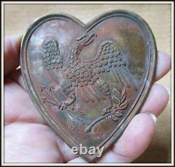 AUTHENTIC Civil War or Earlier BRASS Martingale Heart with Eagle Prong Back