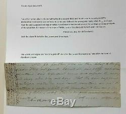 Abraham Lincoln Signed Pre CIVIL War Document James And Lincoln Circa 1852