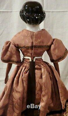 Antique 18 C1860 Kestner Civil War Era Flat Top China Head Doll withGreat Outfit