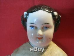 Antique China Head Doll, high brow flat top Civil War era, lovely smiling face