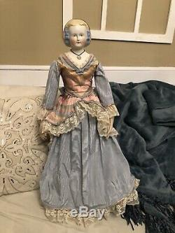 Antique Extra Large Rare 27 Civil War Era Mary Todd Lincoln German China Doll