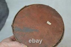 Antique canteen early cheese box drum red paint pre Civil War 18th 19th c real