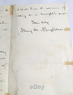 Autograph letter signed by HENRY WADSWORTH LONGFELLOW Civil War interest