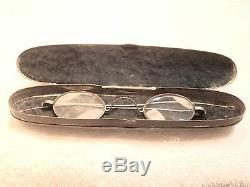 CIVIL War Steel Reading Glasses In A Perfectly Original Felt Lined Tin Case