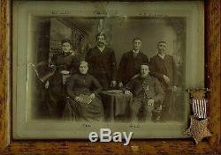 CIVIL War Veteran Original Portrait With G. A. R. Medal/ribbon And Family