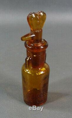 Civil War Medical Surgical Chloroform Anesthesia Drip by Drop Amber Glass Bottle