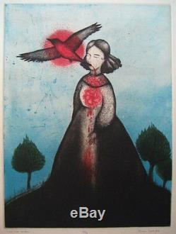 Civil War Widow Framed 4 color limited edition, original etching by Diana Sudyka