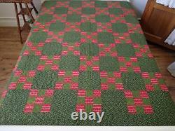 Early PA Antique Red & Green Nine Patch QUILT 90x87 Never Used Civil War Era