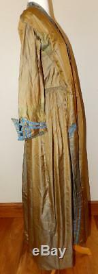 Early Victorian CIVIL War Silk Dressing Gown Robe Dress Hand Sewn W Chemise