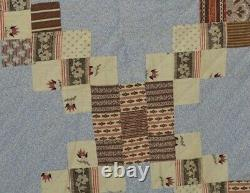 Early old quilt cotton calico paisley blue brown 78x88 old Civil War Era 19th c
