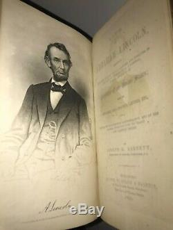 LEATHER ABRAHAM LINCOLN! (FIRST EDITION/FIRST PRINTING 1865!) CIVIL WAR Gift