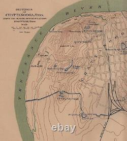 Large Original Antique Civil War Map CHATTANOOGA Tennessee KNOXVILLE