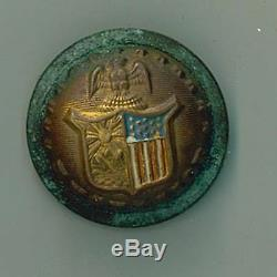 New York Civil War Uniform Button with red white & blue on shield Original Item