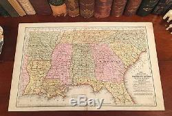 Original 1858 Antique Pre-Civil War SOUTHERN STATES Hand-Colored Engraved Map