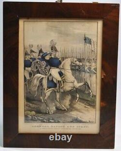 Original Currier Hand-Colored Lithograph General Taylor Staff Civil War Picture
