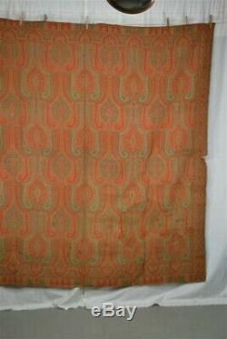 Paisley shawl throw woven wool Civil War Era 68 x 71 in double sided 1800