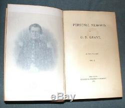 Personal Memoirs Of Ulysses S. Grant 1885 Chas Webster Publisher