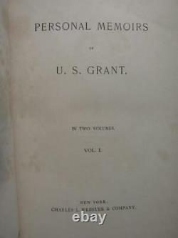 Personal Memoirs Of Ulysses S. Grant 1885 First Edition Leather CIVIL War