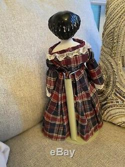 Petite 12 Antique Civil War Era German High Brow China Doll Cabinet Size