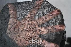 Shawl chantilly lace large triangle 108 in. Civil War Era original antique