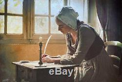 WILLIAM OXER ORIGINAL Missive english civil war girl young Woman PAINTING