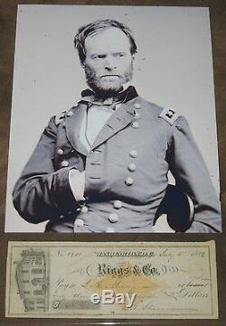 William T. Sherman Civil War rare signed 7.5 x 2.75 bank Check, Psa